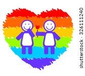 lesbian couple on a grunge... | Shutterstock . vector #326111240