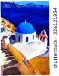 Blue Santorini   Artistic...
