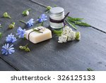 soap  cream and bath salt with... | Shutterstock . vector #326125133