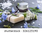 soap  cream and bath salt with... | Shutterstock . vector #326125190