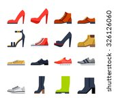 Footwear Flat Icons. Colorfull...