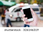 hand hold smartphone with...   Shutterstock . vector #326146319