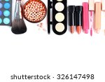makeup brush and cosmetics on a ... | Shutterstock . vector #326147498