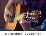 young man playing acoustic... | Shutterstock . vector #326157494