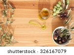 olive branches on wood with...   Shutterstock . vector #326167079