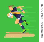 rugby player. vector flat... | Shutterstock .eps vector #326177378
