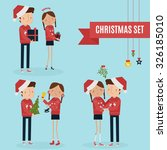 christmas couple vector... | Shutterstock .eps vector #326185010