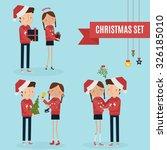 christmas couple vector... | Shutterstock .eps vector #326185010