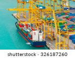 loading containers on a sea... | Shutterstock . vector #326187260