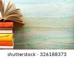 open book  hardback books on... | Shutterstock . vector #326188373