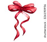 Watercolor Illustration Red Bow ...