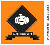 pumpkin icon. black happy... | Shutterstock .eps vector #326196566