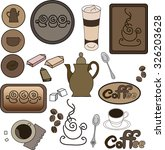set coffee items  coffee  and... | Shutterstock .eps vector #326203628