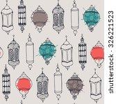 doodle lantern. seamless... | Shutterstock .eps vector #326221523