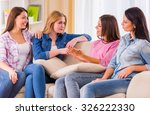 group girls friends sitting on... | Shutterstock . vector #326222330