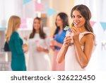 young beautiful girls drink... | Shutterstock . vector #326222450