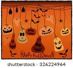 halloween greeting card. vector ... | Shutterstock .eps vector #326224964
