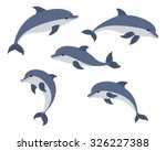 Set Of Five Cute Dolphins....