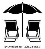 vector deck chairs under beach... | Shutterstock .eps vector #326254568