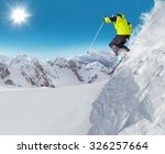 jumping skier at jump with... | Shutterstock . vector #326257664