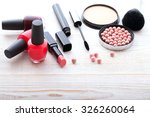 makeup brush and cosmetics make ... | Shutterstock . vector #326260064