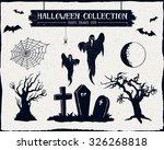 hand drawn textured halloween... | Shutterstock .eps vector #326268818