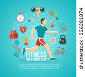 fitness concept with running... | Shutterstock .eps vector #326281874
