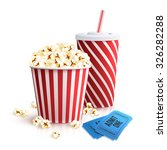 cinema set with cola glass... | Shutterstock .eps vector #326282288