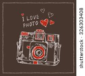 old camera  hand drawn  | Shutterstock .eps vector #326303408