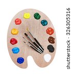 Wooden Art Palette With Paints...