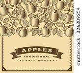retro apple harvest card brown. ... | Shutterstock .eps vector #326309354