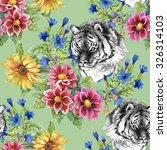seamless pattern with tigers  ... | Shutterstock . vector #326314103