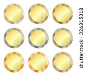 vector set of simple round gold ... | Shutterstock .eps vector #326315318