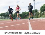 group of young  athletics... | Shutterstock . vector #326328629