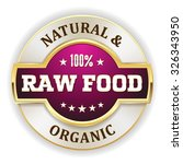 Purple Raw Food Badge With Gol...
