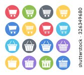 shopping cart   basket icons set | Shutterstock .eps vector #326349680