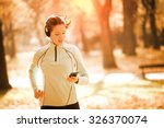 young woman with headphones... | Shutterstock . vector #326370074