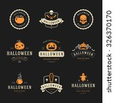 set vintage happy halloween... | Shutterstock .eps vector #326370170