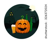 halloween beer party. drunk... | Shutterstock .eps vector #326372024