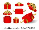 red gift boxes and with golden... | Shutterstock .eps vector #326372330
