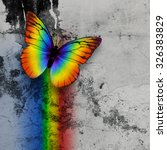 Bright Rainbow Butterfly On...