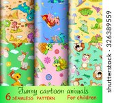 six seamless pattern with funny ... | Shutterstock .eps vector #326389559