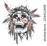 skull of an indian warrior... | Shutterstock .eps vector #326411000