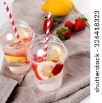 flavored drinking water on the...   Shutterstock . vector #326418323