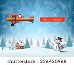 light plane with santa claus ... | Shutterstock .eps vector #326430968