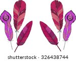 set of pink feathers drawn by... | Shutterstock .eps vector #326438744