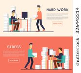 a lot of work and stress. a man ... | Shutterstock .eps vector #326443214