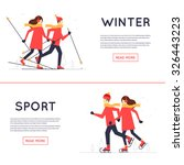 man and woman skiing and skate  ... | Shutterstock .eps vector #326443223