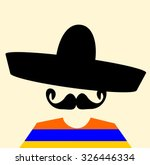 man with sombrero and handlebar ... | Shutterstock .eps vector #326446334