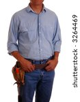 Carpenter wearing a toolbelt isolated over white - stock photo